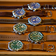 DETROIT, MI - OCTOBER, 30: Watches for sale at the Shinola store in Detroit, Michigan, Thursday, October 30, 2014. (Photo by Jeffrey Sauger)
