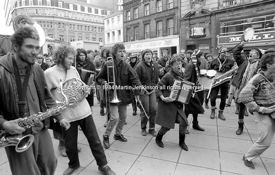 National Street Bands Get Together on Fargate during  Defend Sheffield Week of Action. 25/02/1984.