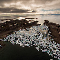 Canada, Nunavut Territory, Repulse Bay, Aerial view of grounded icebergs on Harbour Islands on summer morning