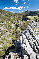 Beautiful view of limestone cliffs and green hillside, Cazorla National Park, Jaen Province, Andalucia, Spain
