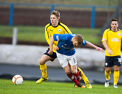 Falkirk's Dale Fulton  and Cowdenbeath's Jon Robertson..half time : Falkirk v Cowdenbeath, 9/2/2013..©Michael Schofield.