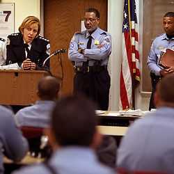 Police Chief Cathy L. Lanier leads a roll call for police officers in District 6 in Washington, D.C. on March 16, 2009. Lanier, chief of police with the Metropolitan Police Department of the District of Columbia, MPDC, rose to her position from humble beginnings: she was a high-school dropout after ninth grade and an unwed mother at the age of 15. Despite a rough start, she later earned advanced academic degrees from the Johns Hopkins University and the Naval Postgraduate School in Monterey, Calif., where she completed a Masters in Security Studies. Lanier also attended the John F. Kennedy School of Government at Harvard University and is a graduate of the FBI Academy and the University of the District of Columbia. She has been on the force for 18 years.