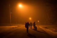 March 27, 2017 - Emerson, Manitoba : Refugees from Djibouti and Somalia walk through the streets in search of local authorities after crossing illegally into Canada at 4 am.