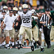 SHOT 9/1/13 6:39:21 PM - Colorado's Nelson Spruce #22 tries to hug the sideline while being chased by Colorado State's Bryan Ohene #36 and DeAndre Elliott #13 during the 2013 Rocky Mountain Showdown at Sports Authority Field at MiIe HIgh Stadium in Denver, Co. Colorado won the annual in-state rivalry 41-27. (Photo by Marc Piscotty / © 2013)