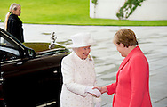 24-6-2015 BERLIN - Britain's Queen Elizabeth II (L) is greeted by German Chancellor Angela Merkel (R) upon arrival at the Chancellery in Berlin on June 24, 2015. British Queen Elizabeth II is in Germany for a three-day visit. COPYRIGHT ROBIN UTRECHT