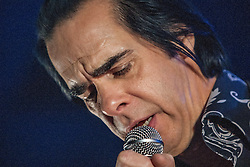 Frontman Nick Cave, of Nick Cave and the Bad Seeds, on stage tonight at The Barrowlands, Glasgow, Scotland.<br /> &copy;Michael Schofield.