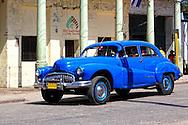 Blue car in La Maya, Santiago de Cuba, Cuba.
