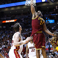 24 January 2012: Cleveland Cavaliers power forward Samardo Samuels (24) dunks the ball during the Miami Heat 92-85 victory over the Cleveland Cavaliers at the AmericanAirlines Arena, Miami, Florida, USA.