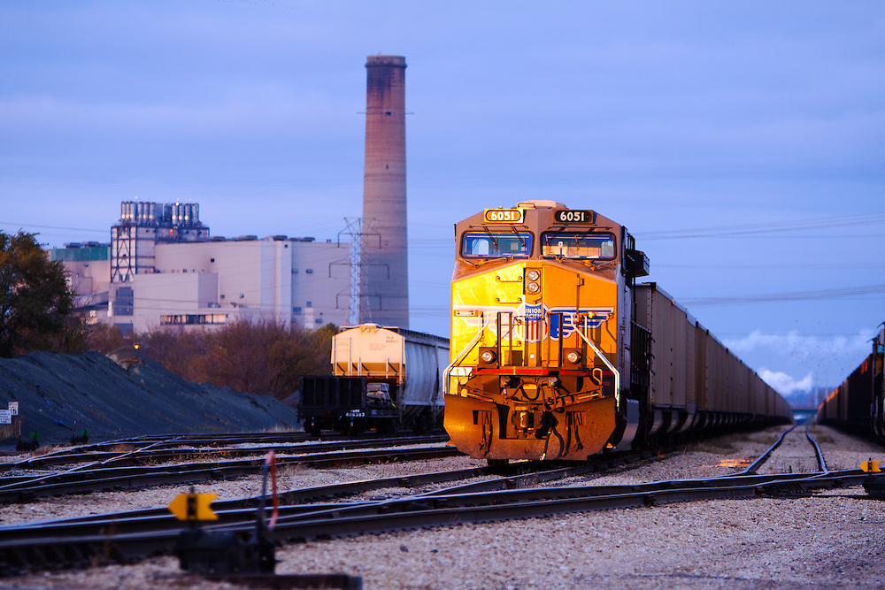 A Union Pacific coal train sits in the yard at Powerton, IL as it waits to be unloaded at the power plant.