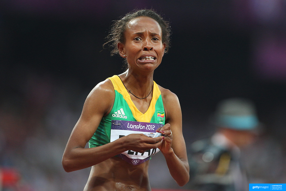 Meseret Defar, Ethiopia, winning the Gold Medal in the Women's 1500m Final at the Olympic Stadium, Olympic Park, during the London 2012 Olympic games. London, UK. 10th August 2012. Photo Tim Clayton