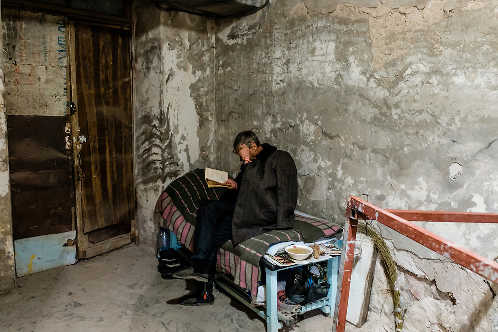 15 of April 2015 / Petrovski/ Donetsk Oblast/ Ukraine - There is several rooms with different size in the bunker. Here a tiny one to accommodate this man who refuse to give me it's name and to be identified.