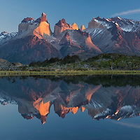 South America;Patagonia, Chile, Torres del Paine, National Park, UNESCO, World Heritage,Cuernos del Paine reflecting in Lago Pehoe