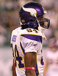 Oct 11, 2010; East Rutherford, NJ, USA; Minnesota Vikings wide receiver Randy Moss (84) during the pre-game warmup before their game against the New York Jets at the New Meadowlands Stadium.