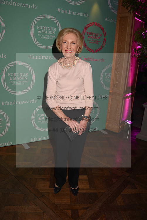 Mary Berry at the 2017 Fortnum &amp; Mason Food &amp; Drink Awards held at Fortnum &amp; Mason, Piccadilly London England. 11 May 2017.<br /> Photo by Dominic O'Neill/SilverHub 0203 174 1069 sales@silverhubmedia.com