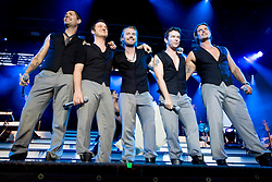 Boyzone, the Irish vocal pop group comprising Mikey Graham, Keith Duffy, Ronan Keating, Stephen Gately and Shane Lynch, perform on stage at Edinburgh Castle, July 18, 2008.