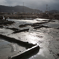 The foundations of buildings, hit by the 2011 tsunami,  on the 1 year anniversary of the March 11th 2011 earthquake and tsunami, in Minami-Sanriku, Tohoku region, Japan on Sunday 11th March 2012.