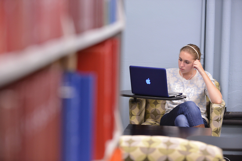 Student studying in the Performing Arts Library