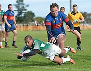 GEORGE, SOUTH AFRICA - SEPTEMBER 24: Leegan Moos of RSK Evergreens scores a try during the Gold Cup 2016 match between RSK Evergreens and Pirates at Pacaltsdorp Sports Ground on September 24, 2016 in George, South Africa. (Photo by Roger Sedres/Gallo Images)