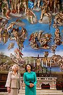 Sixtijnse Kapel Prinses Beatrix is bij de opening van de tentoonstelling Rembrandt at the Vatican. De tentoonstelling omvat vijfenvijftig etsen uit het Zweedse Zorn Museum en het schilderij &lsquo;Tronie van een oude man met tulband&rsquo; uit de Nederlandse Kremer-collectie.<br /> 23-11-2016 ROME VATICAN CITY - sixteenth chapel Queen Silvia with Princess Beatrix of the Netherlands on Wednesday November 23 at the opening of the exhibition Rembrandt at the Vatican: Images from Heaven and Earth. Her Majesty Queen Silvia of Sweden will open the exhibition with a speech. Princess Beatrix at the opening Rembrandt exhibition in the Vatican. COPYRIGHT ROBIN UTRECHT<br /> <br /> 23-11-2016 ROME VATICANCITY - Koningin Silvia  samen met Prinses Beatrix der Nederlanden is op woensdagavond 23 november aanwezig bij de opening van de tentoonstelling Rembrandt at the Vatican: Images from Heaven and Earth. Hare Majesteit Koningin Silvia van Zweden opent de tentoonstelling met een toespraak. Prinses Beatrix is aanwezig bij opening Rembrandt tentoonstelling in Vaticaan . COPYRIGHT ROBIN UTRECHT