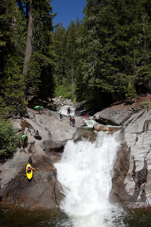 """Kayakers on Silver Creek 1"" - These kayakers were photographed on Silver Creek - South Fork, near Icehouse Reservoir, CA."