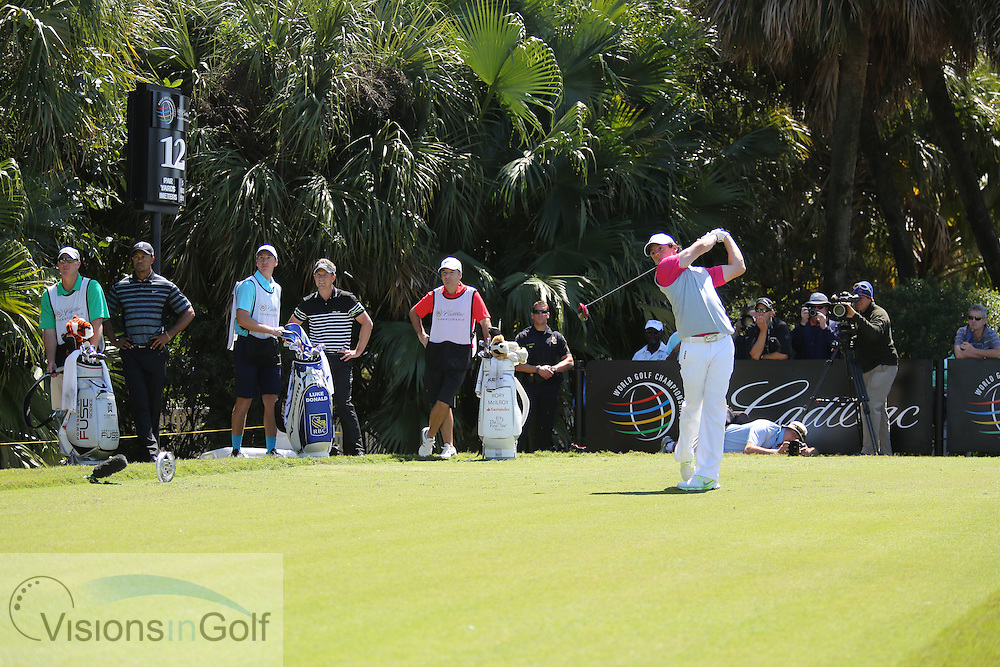 Luke Donald Tiger Woods Rory McIlroy<br /> at the Cadillac WGC Doral, Miami, USA<br /> March 2013<br /> Picture Credit:  Mark Newcombe / www.visionsingolf.com