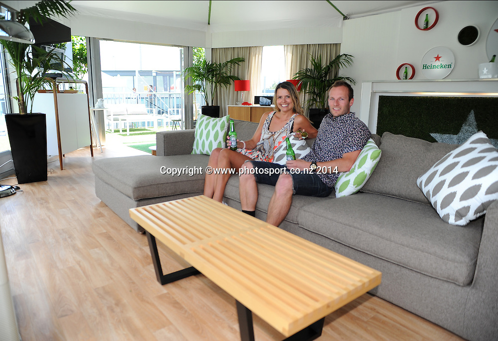 Heineken apartment for a week winners Michael and Amber enjoy there stay. Auckland, New Zealand. Monday 6 January 2014. Photo: Chris Symes/www.photosport.co.nz
