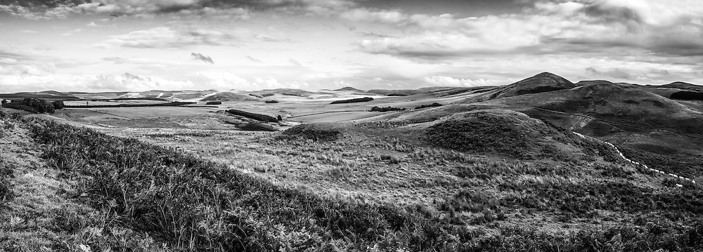 Looking east from Riccalton towards Plenderleith along the Anglo Scot border in the Cheviot Hills.