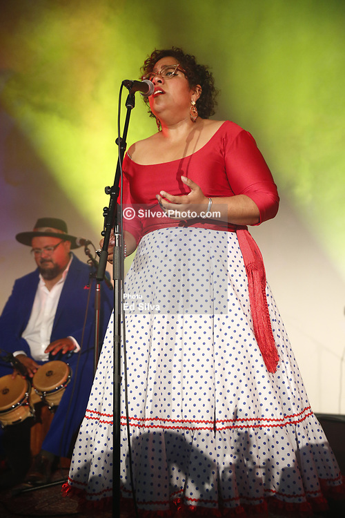 """LOS ANGELES, CA - MAY 8: La Santa Cecilia performs on stage at The Masonic Lodge at Hollywood Forever to debut their new album """"Amar y Vivir"""" recorded live in Mexico City on Monday  May 8, 2017, in Los Angeles. Byline, credit, TV usage, web usage or linkback must read SILVEXPHOTO.COM. Failure to byline correctly will incur double the agreed fee. Tel: +1 714 504 6870."""