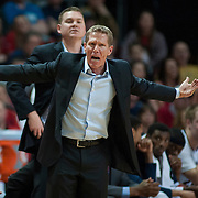 Coach Mark Few during the men's WCC finals.  (Austin Ilg photo, Gonzaga Bulletin)