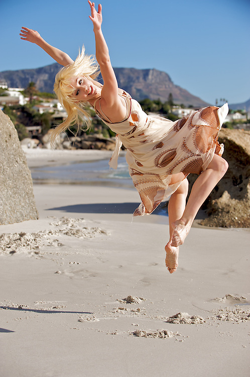 South Africa,Cape Town,Clifton Beach<br /> Kristin Wilson of the Dance for All Company on Clifton Beach.<br /> Photography by Richard Olivier&copy;2009<br /> Tel 0044 07947 884 517<br /> www.linkphotographers.com<br /> dfa_clftn_090319_0434