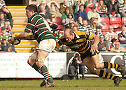 Leicester, ENGLAND,Wasps Lawrence Dallaglio [right] goes in low to tackle Martin Corry, during the Guinness Premiership Rugby match,  Leicester Tigers vs London Wasps, at Welford Road. © Peter Spurrier/Intersport-images.com.