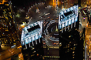 The Time Warner Building and Columbus Circle from the air