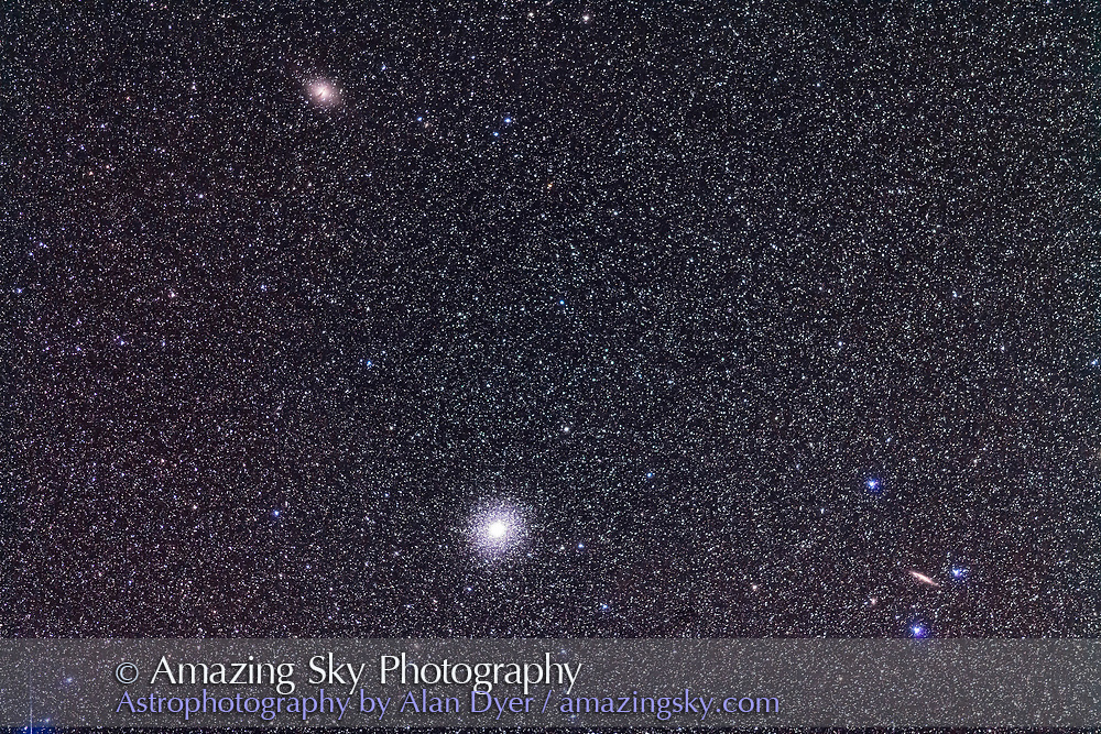 The great globular cluster and galactic nucleus remnant Omega Centauri, NGC 5139, with two galaxies in the field: Centarus A or NGC 5128, the Hamburger Galaxy, at top; and NGC 4945 at right. Ther field simulates a binocular field of view. <br /> <br /> This is a stack of 4 x 2-minute exposures with the 20mm telephoto at f/2.8 and Canon 5D MkII at ISO 2500.