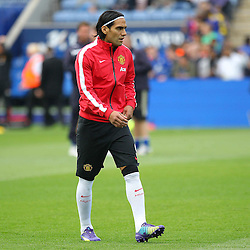 Manchester United's Radamel Falcao during the warm up during the Barclays Premiership match between Leicester City FC and Manchester United FC, at the King Power Stadium, Leicester, 21st September 2014 © Phil Duncan | SportPix.org.uk