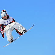 SHOT 1/26/08 3:19:49 PM - Snowboarder Kevin Pearce of Norwich, Vt. gets airborne over the money booter during the Snowboard Slopestyle finals Saturday January 26, 2008 at Winter X Games Twelve in Aspen, Co. at Buttermilk Mountain. Pearce won the silver medal with a score of 88.33 finishing second to Andreas Wiig with a score of 92.00. The 12th annual winter action sports competition features athletes from across the globe competing for medals and prize money is skiing, snowboarding and snowmobile. Numerous events were broadcast live and seen in more than 120 countries. The event will remain in Aspen, Co. through 2010..(Photo by Marc Piscotty / © 2008)