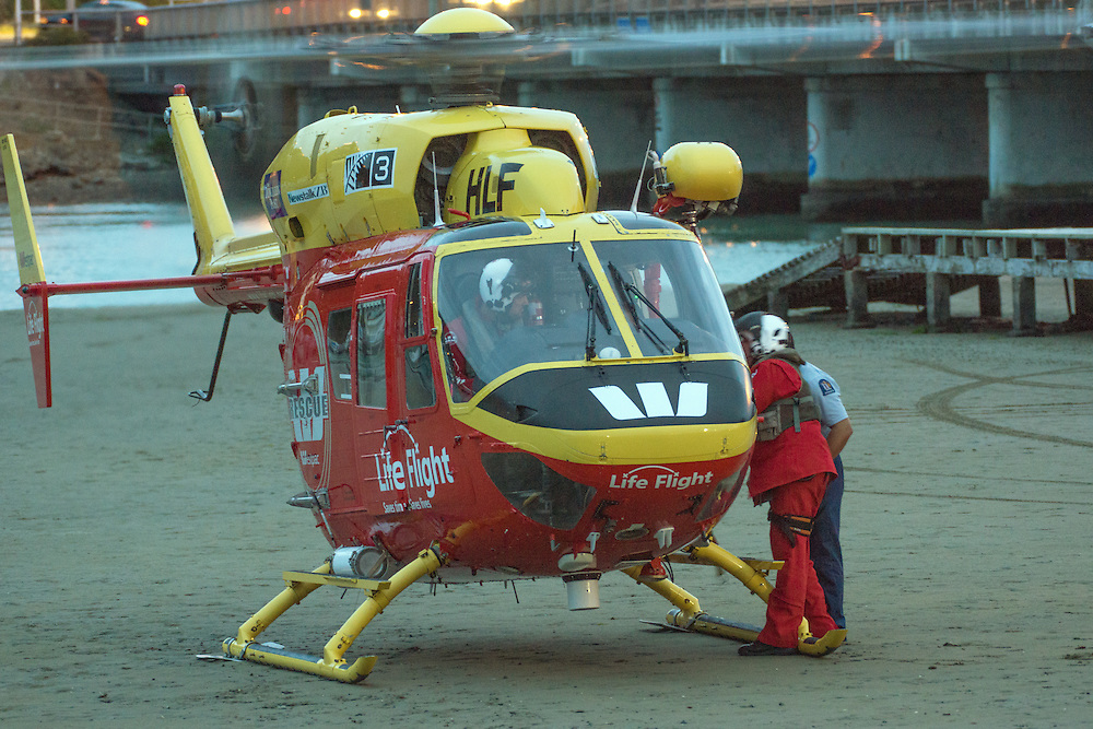 Police and Westpac Rescue Helicopter was called to rescue a 22 year old man from who swam away from caregivers in the Porirua inner harbour, Wellington, New Zealand, Monday, June 01, 2015. Credit:SNPA / Derek Quinn