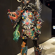 """""""Inkling"""" (2013) costume by Gillian Saunders. WOW, World of Wearable Art (TM) is New Zealand's largest arts show. This showcase of work emerges from WOW, a spectacular international design competition where art and fashion intersect. This July 8, 2016 photo is from an exhibition at the EMP Museum, now called MOPOP (Museum of Pop Culture), Seattle, Washington, USA."""