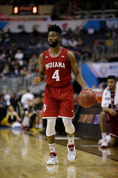 Indiana guard Robert Johnson (4) in action as Indiana played Iowa in an NCCA college basketball game in the second tournament in Washington, D.C., Thursday, March 9, 2017. (Photo by AJ Mast)