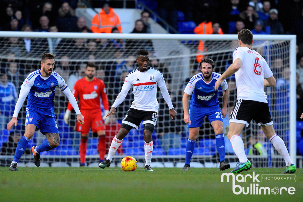 Ipswich, Suffolk. Football action from Ipswich Town v Fulham at Portman Road in the Sky Bet Championship on the 26th December 2016. Fulham's Floyd Ayit&eacute; <br /> <br /> Picture: MARK BULLIMORE