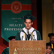 Wilmington University candidate for bachelors of science degree in general studies Zachary Lee addresses students during Wilmington University commencement exercise Sunday, May 17, 2015, at Chase Center On The Riverfront in Wilmington Delaware.