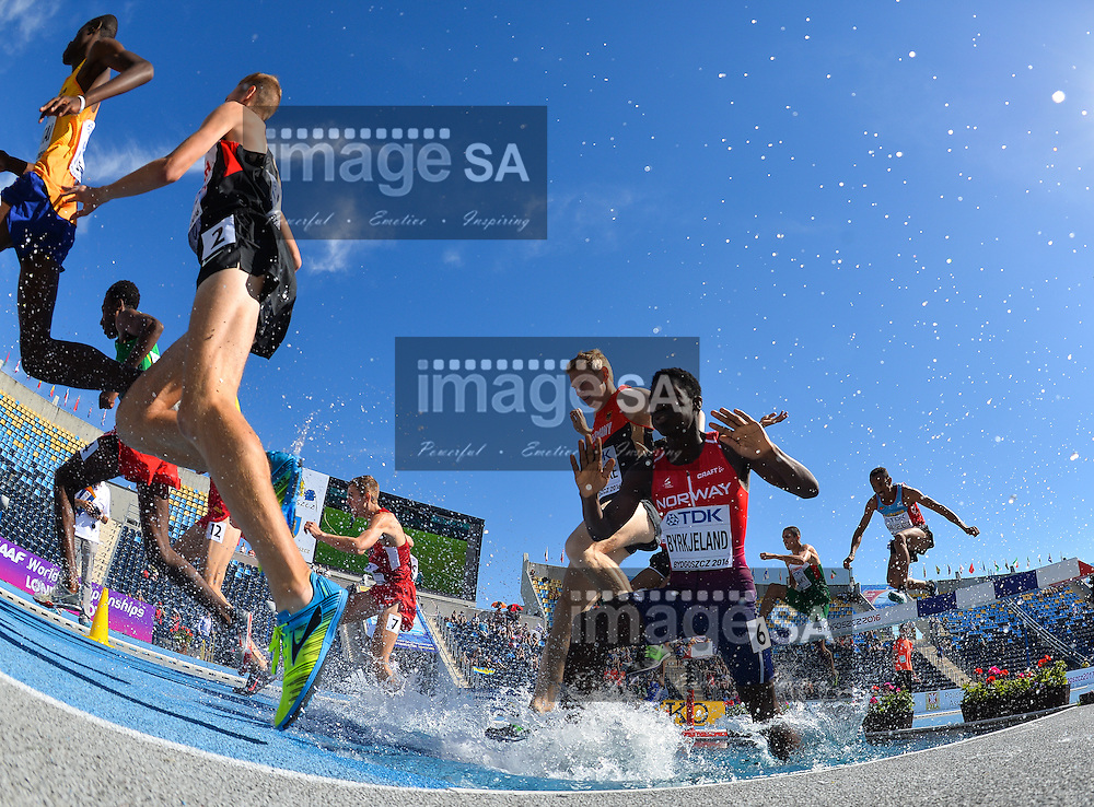 BYDGOSZCZ, POLAND - JULY 21: Thomas Byrkjeland of Norway at the water jump in the mens 3000m steeplechase during day 3 of the IAAF World Junior Championships at Zawisza Stadium on July 21, 2016 in Bydgoszcz, Poland. (Photo by Roger Sedres/Gallo Images)