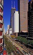 Image of Magnificent Mile along North Michigan Avenue in Chicago, Illinois, American Midwest