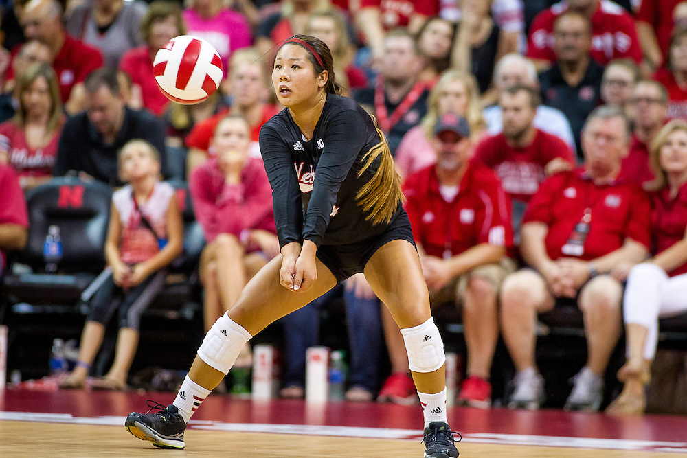 August 29, 2015: Justine Wong-Orantes #4 of the Nebraska Cornhuskers digs the ball against Pittsburgh and was awarded Best Libero during the Nebraska Invite at the Devaney Sports Center in Lincoln, Nebraska. Nebraska 3 Pittsburgh 1.