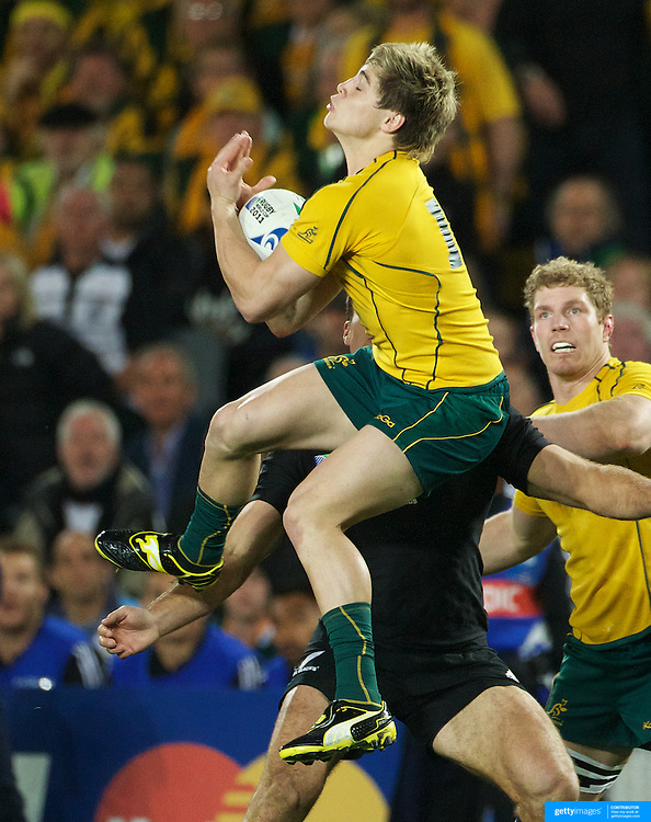James O' Connor, Australia, takes a high kick during the New Zealand V Australia Semi Final match at the IRB Rugby World Cup tournament, Eden Park, Auckland, New Zealand, 16th October 2011. Photo Tim Clayton...