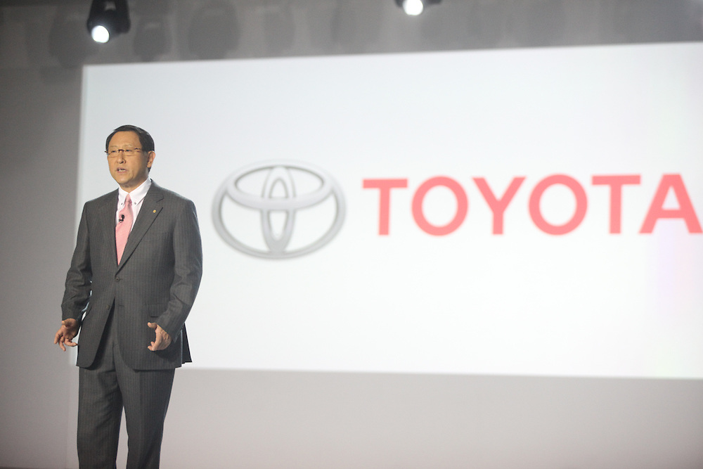 GR --- Detroit, Michigan ---11-01-10--- Akio Toyoda, President of Toyota Motor Corp speaks at his company's press conference at  the North American International Auto Show in Detroit, Michigan January 10, 2011.<br /> Geoff Robins AFP
