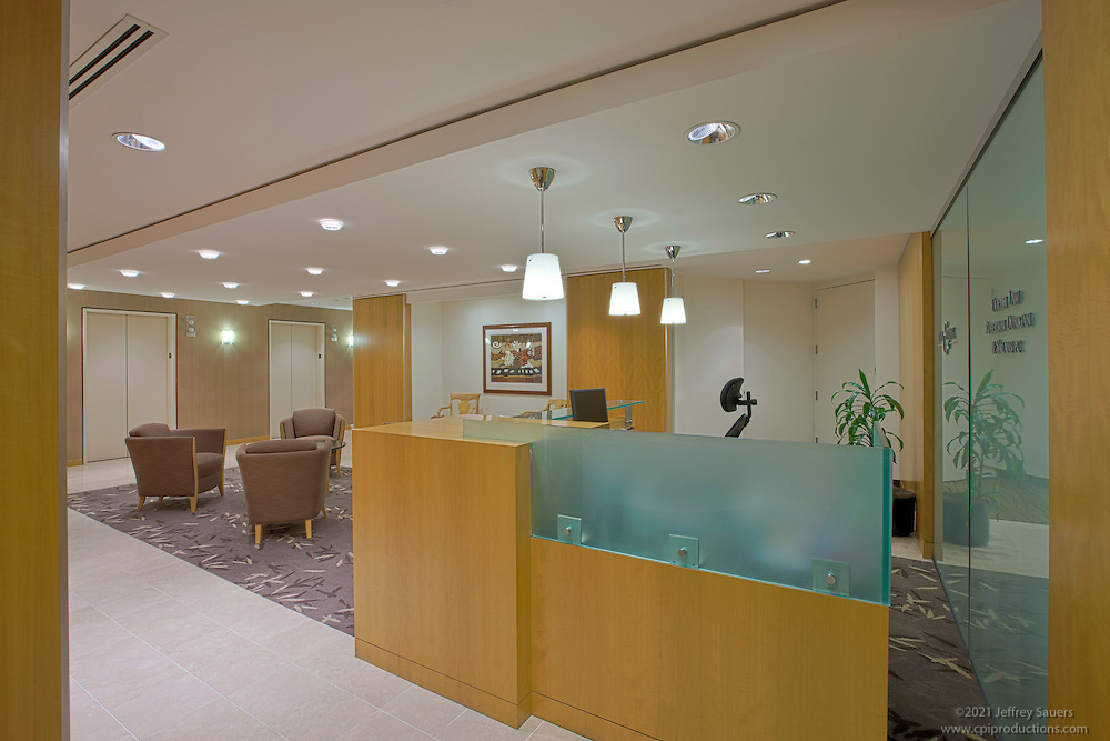 interior design photographer of washington dc image of reception area at downtown offices of ain and bank and office interiors