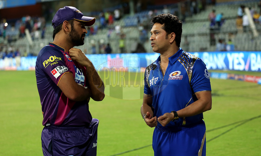 Rising Pune Supergiants captain MS Dhoni and Sachin Tendulkar mentor of Mumbai Indians after the  match 1 of the Vivo Indian Premier League ( IPL ) 2016 between the Mumbai Indians and the Rising Pune Supergiants held at the Wankhede Stadium in Mumbai on the 9th April 2016<br /> <br /> Photo by Sandeep Shetty/ IPL/ SPORTZPICS