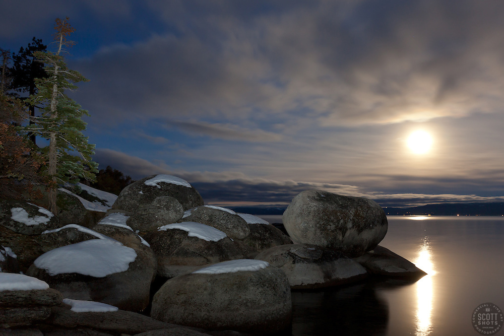 """Full Moon over Lake Tahoe 7"" - These snow covered boulders and full moon were photographed in the early morning near Memorial Point, Lake Tahoe."