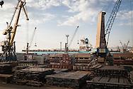 Industrial scene. The Maersk Container ship, Nedlloyd Mercator, in the Russian Black Sea port of Novorossiysk
