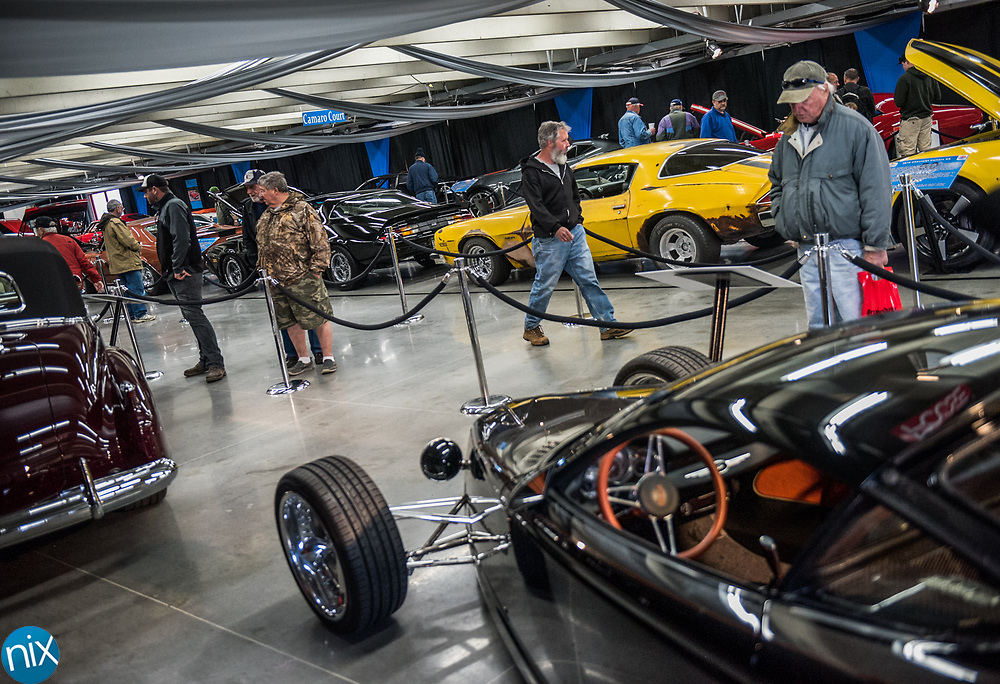 The Chip Foose display at the Charlotte AutoFair at Charlotte Motor Speedway Thursday morning.